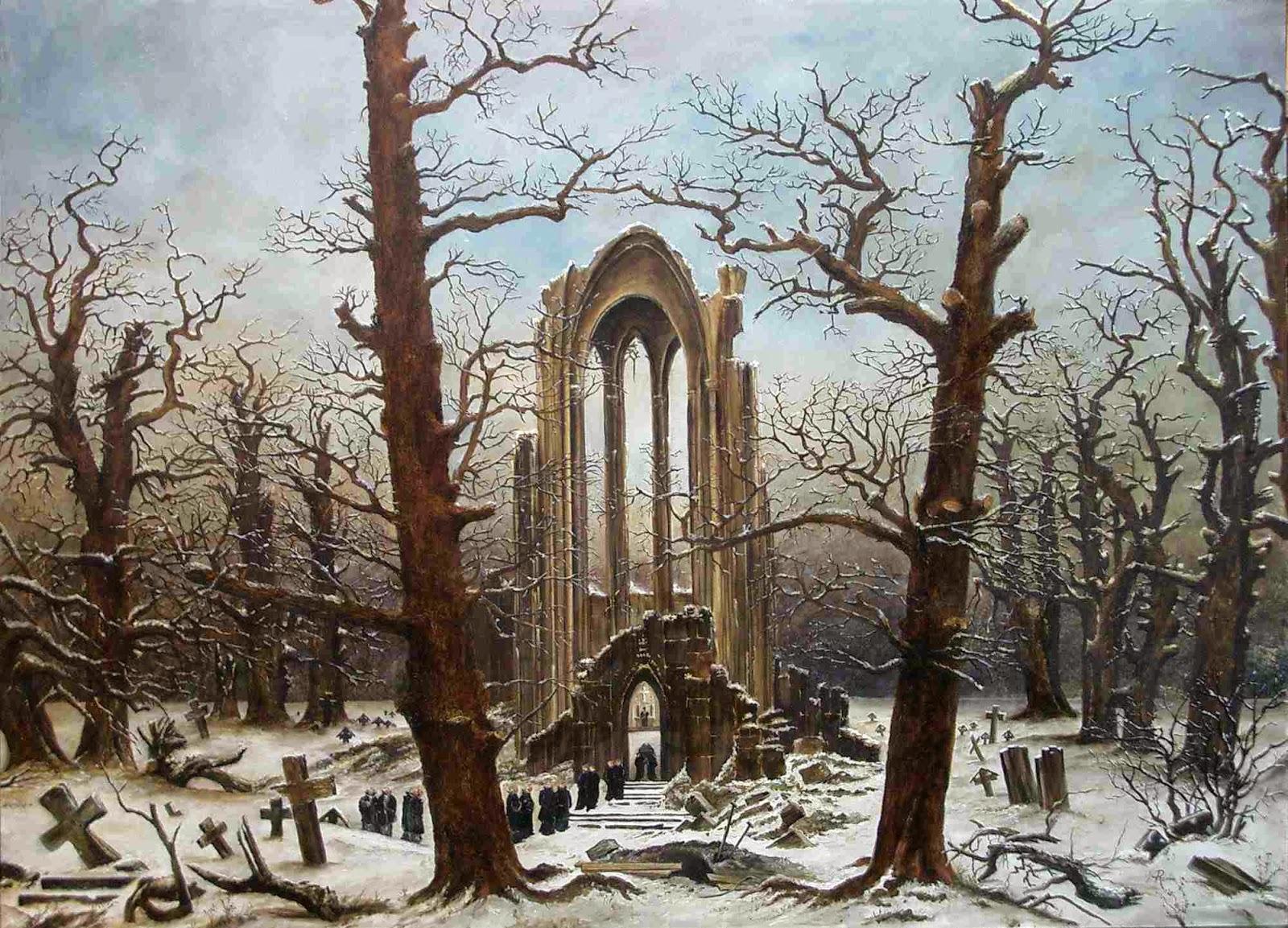 Cimitero dell'abbazia sotto la neve